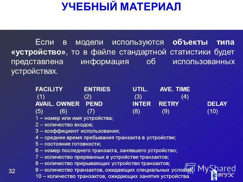 УЧЕБНЫЙ МАТЕРИАЛ 32 Если в модели используются объекты типа «устройство», то в файле стандартной статистики будет представлена информация об использованных устройствах. FACILITY ENTRIESUTIL. AVE. TIME (1) (2) (3)(4) AVAIL. OWNER PENDINTER RETRY DELAY