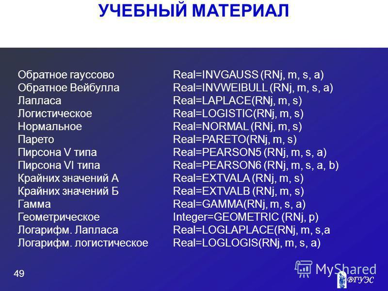 УЧЕБНЫЙ МАТЕРИАЛ 49 Обратное гауссово Real=INVGAUSS (RNj, m, s, a) Обратное Вейбулла Real=INVWEIBULL (RNj, m, s, a) ЛапласаReal=LAPLACE(RNj, m, s) ЛогистическоеReal=LOGISTIC(RNj, m, s) Нормальное Real=NORMAL (RNj, m, s) Парето Real=PARETO(RNj, m, s)