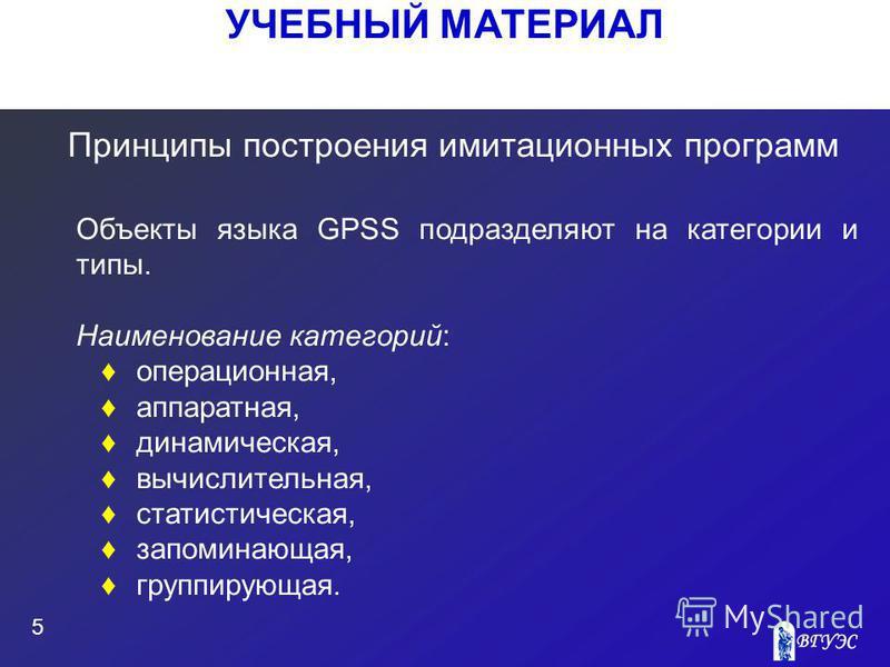 УЧЕБНЫЙ МАТЕРИАЛ 5 Принципы построения имитационных программ Объекты языка GPSS подразделяют на категории и типы. Наименование категорий: операционная, аппаратная, динамическая, вычислительная, статистическая, запоминающая, группирующая.