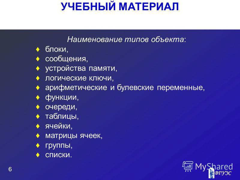 УЧЕБНЫЙ МАТЕРИАЛ 6 Наименование типов объекта: блоки, сообщения, устройства памяти, логические ключи, арифметические и булевские переменные, функции, очереди, таблицы, ячейки, матрицы ячеек, группы, списки.