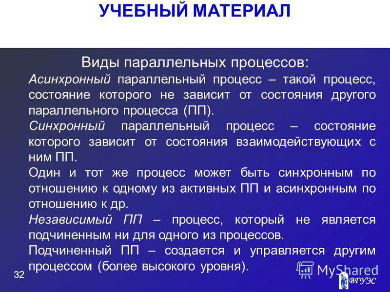 УЧЕБНЫЙ МАТЕРИАЛ 32 Виды параллельных процессов: Асинхронный параллельный процесс – такой процесс, состояние которого не зависит от состояния другого параллельного процесса (ПП). Синхронный параллельный процесс – состояние которого зависит от состоян