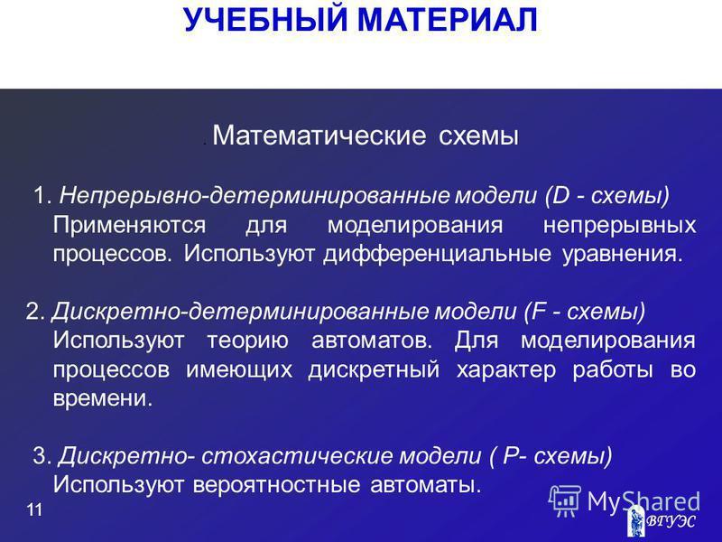 УЧЕБНЫЙ МАТЕРИАЛ 11. Математические схемы 1. Непрерывно-детерминированные модели (D - схемы) Применяются для моделирования непрерывных процессов. Используют дифференциальные уравнения. 2. Дискретно-детерминированные модели (F - схемы) Используют теор