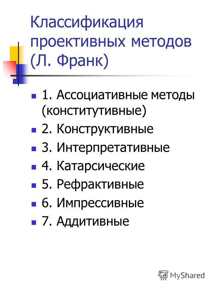 Классификация проективных методов (Л. Франк) 1. Ассоциативные методы (конститутивные) 2. Конструктивные 3. Интерпретативные 4. Катарсические 5. Рефрактивные 6. Импрессивные 7. Аддитивные