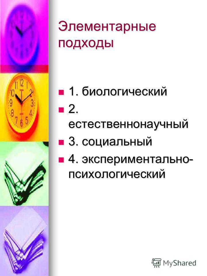 Элементарные подходы 1. биологический 1. биологический 2. естественнонаучный 2. естественнонаучный 3. социальный 3. социальный 4. экспериментально- психологический 4. экспериментально- психологический