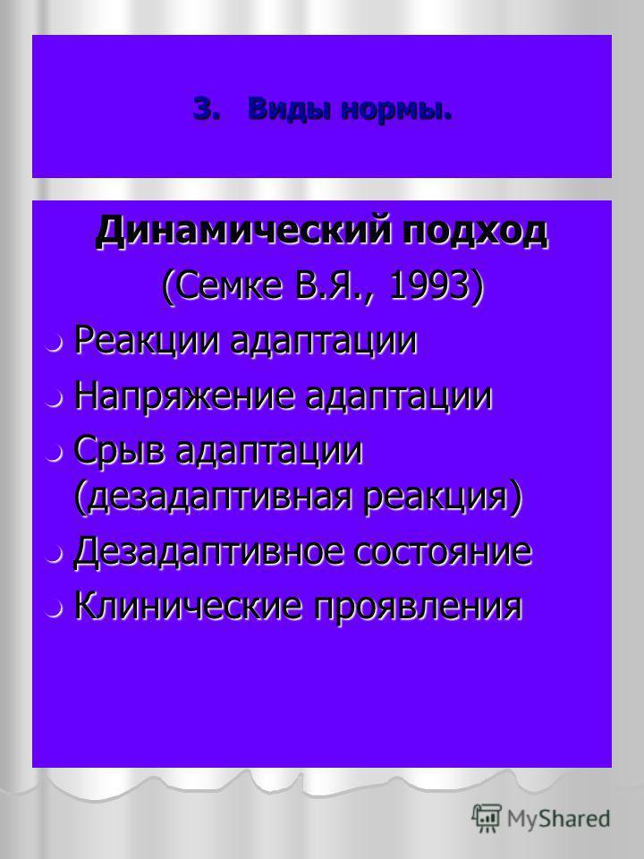 3. Виды нормы. Динамический подход (Семке В.Я., 1993) Реакции адаптации Реакции адаптации Напряжение адаптации Напряжение адаптации Срыв адаптации (дезадаптивная реакция) Срыв адаптации (дезадаптивная реакция) Дезадаптивное состояние Дезадаптивное со