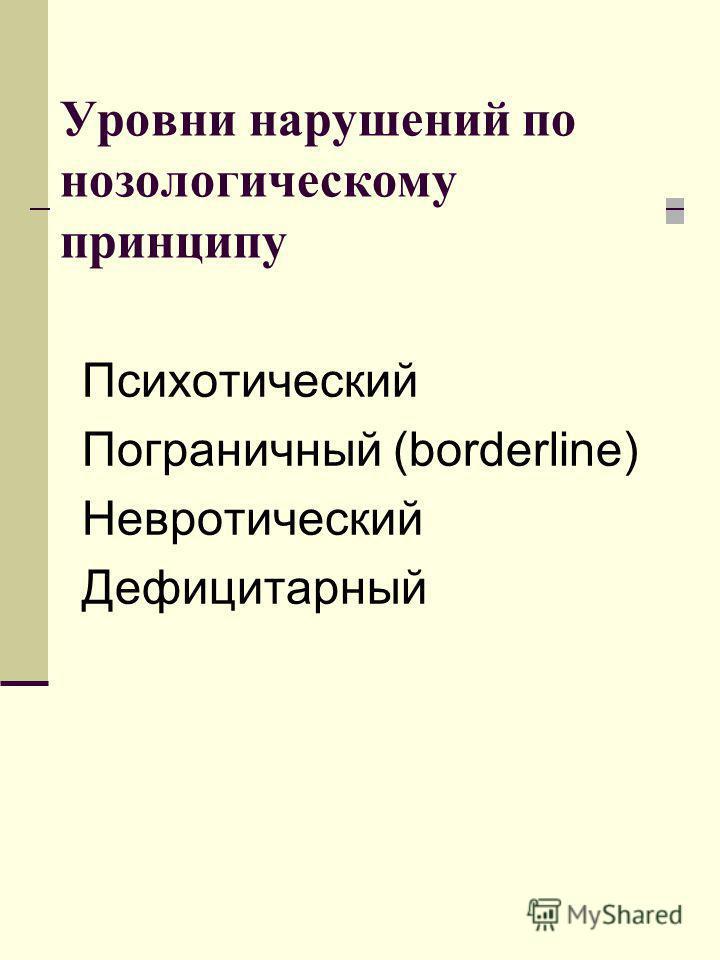 Уровни нарушений по нозологическому принципу Психотический Пограничный (borderline) Невротический Дефицитарный