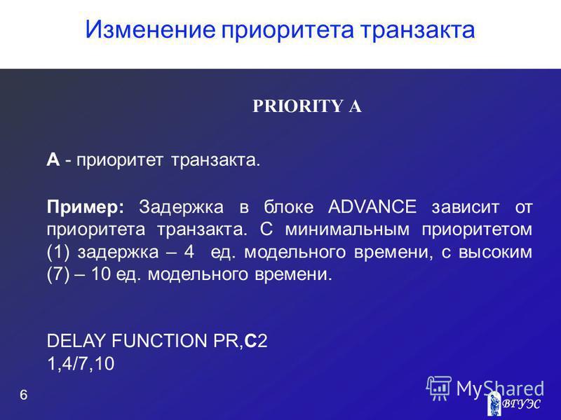 Изменение приоритета транзакта 6 PRIORITY A А - приоритет транзакта. Пример: Задержка в блоке ADVANCE зависит от приоритета транзакта. С минимальным приоритетом (1) задержка – 4 ед. модельного времени, с высоким (7) – 10 ед. модельного времени. DELAY
