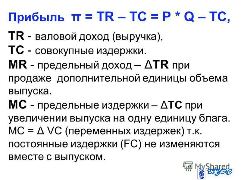 Прибыль π = TR – TC = P * Q – TC, TR - валовой доход (выручка), TC - совокупные издержки. MR - предельный доход – ΔTR при продаже дополнительной единицы объема выпуска. МС - ппредельные издержки – ΔTС при увеличении выпуска на одну единицу блага. МС