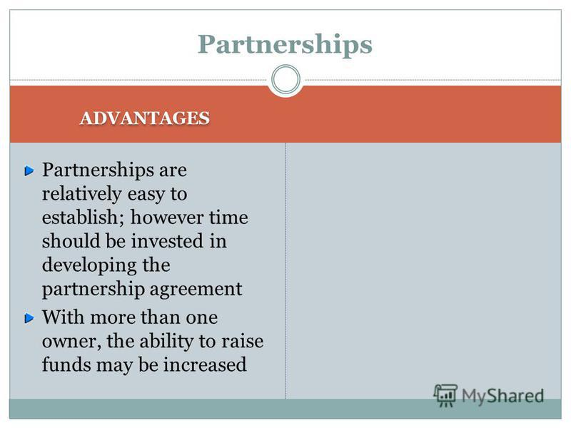 Partnerships THE PARTNERS MUST DECIDE UP FRONT HOW MUCH TIME AND CAPITAL EACH WILL CONTRIBUTE