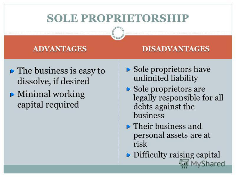 SOLE PROPRIETORSHIP ADVANTAGES Sole proprietors receive all income generated by the business to keep or reinvest. Profits from the business flow-through directly to the owner's personal tax return