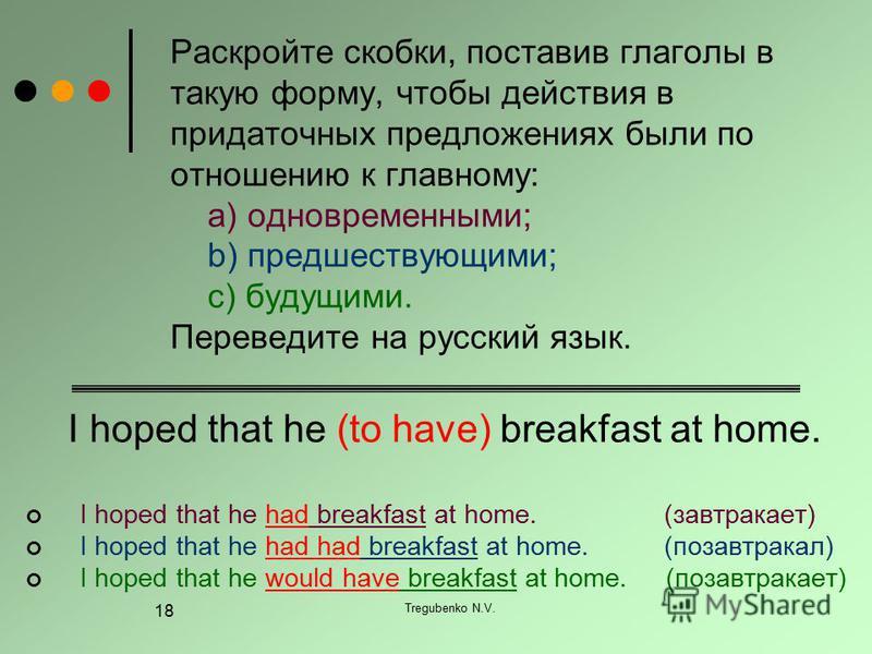 Tregubenko N.V. 18 Раскройте скобки, поставив глаголы в такую форму, чтобы действия в придаточных предложениях были по отношению к главному: a) одновременными; b) предшествующими; c) будущими. Переведите на русский язык. I hoped that he (to have) bre