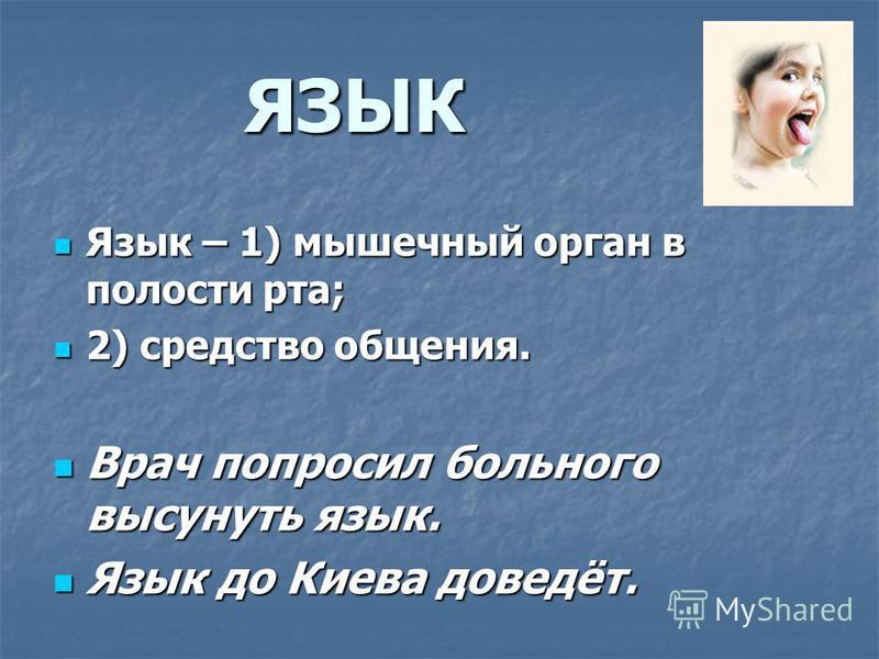 ЯЗЫК Язык – 1) мышечный орган в полости рта; Язык – 1) мышечный орган в полости рта; 2) средство общения. 2) средство общения. Врач попросил больного высунуть язык. Врач попросил больного высунуть язык. Язык до Киева доведёт. Язык до Киева доведёт.
