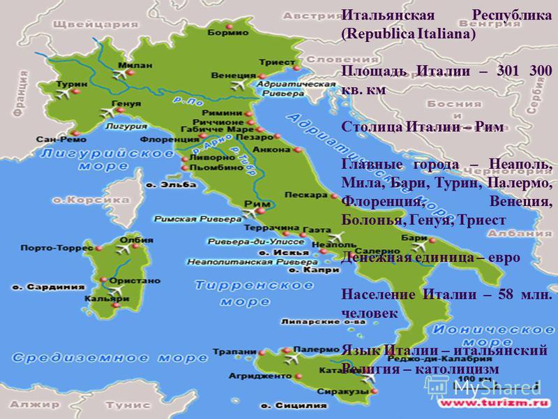 Итальянская Республика (Republica Italiana) Площадь Италии – 301 300 кв. км Столица Италии – Рим Главные города – Неаполь, Мила, Бари, Турин, Палермо, Флоренция, Венеция, Болонья, Генуя, Триест Денежная единица – евро Население Италии – 58 млн. челов