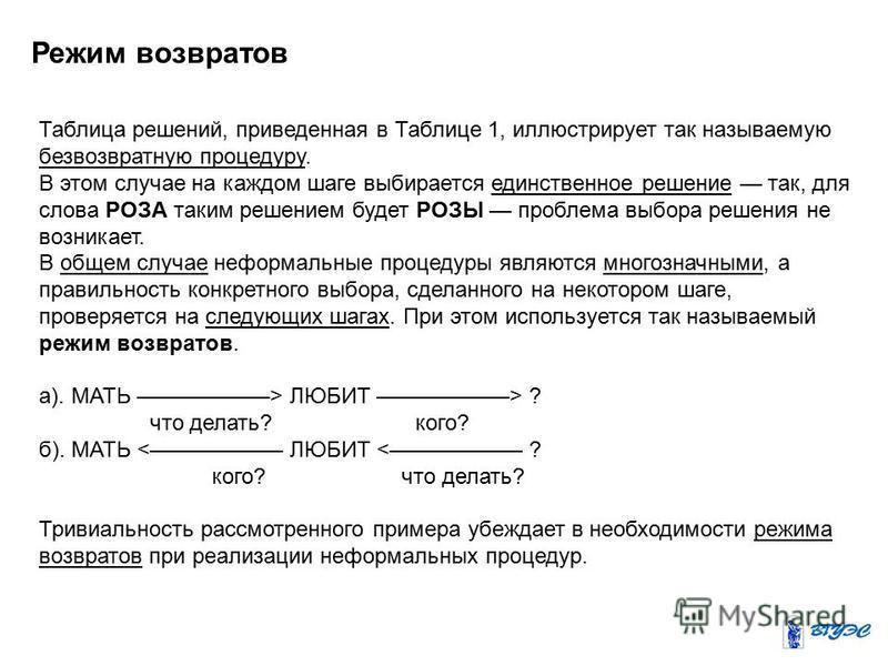 Режим возвратов Таблица решений, приведенная в Таблице 1, иллюстрирует так называемую безвозвратную процедуру. В этом случае на каждом шаге выбирается единственное решение так, для слова РОЗА таким решением будет РОЗЫ проблема выбора решения не возни