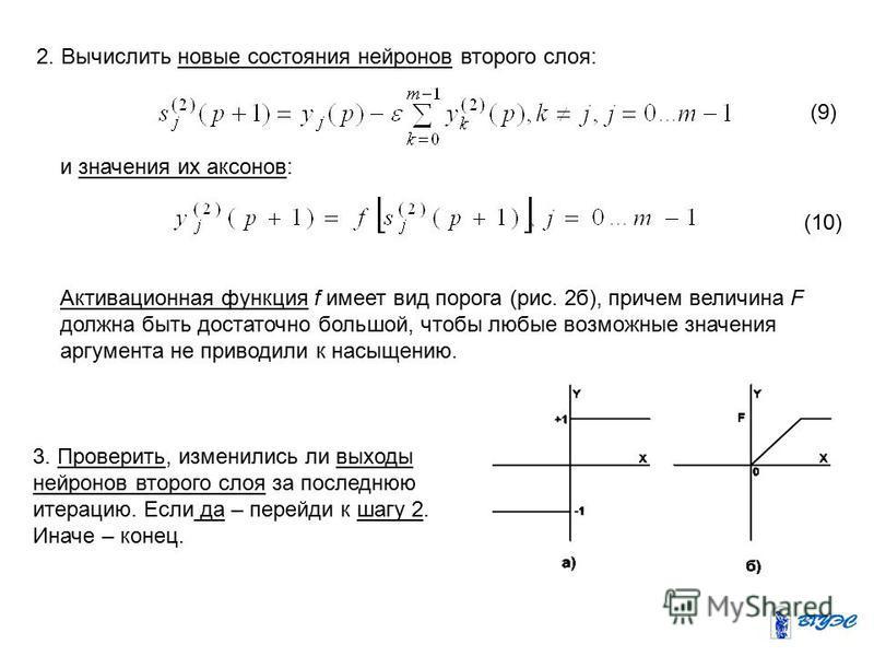 2. Вычислить новые состояния нейронов второго слоя: и значения их аксонов: (9) (10) Активационная функция f имеет вид порога (рис. 2 б), причем величина F должна быть достаточно большой, чтобы любые возможные значения аргумента не приводили к насыщен