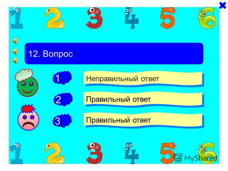 - - 11. Вопрос Неправильный ответ Правильный ответ Неправильный ответ + 1 2 3