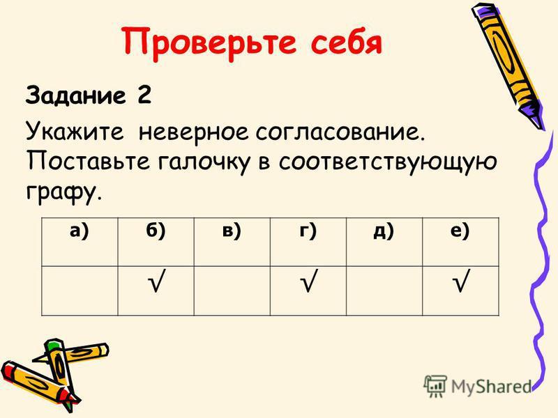 Проверьте себя Задание 1 Найдите соответствие. Поставьте цифру правильного ответа в соответствующую графу. а)б)в)г)д)е) 231331