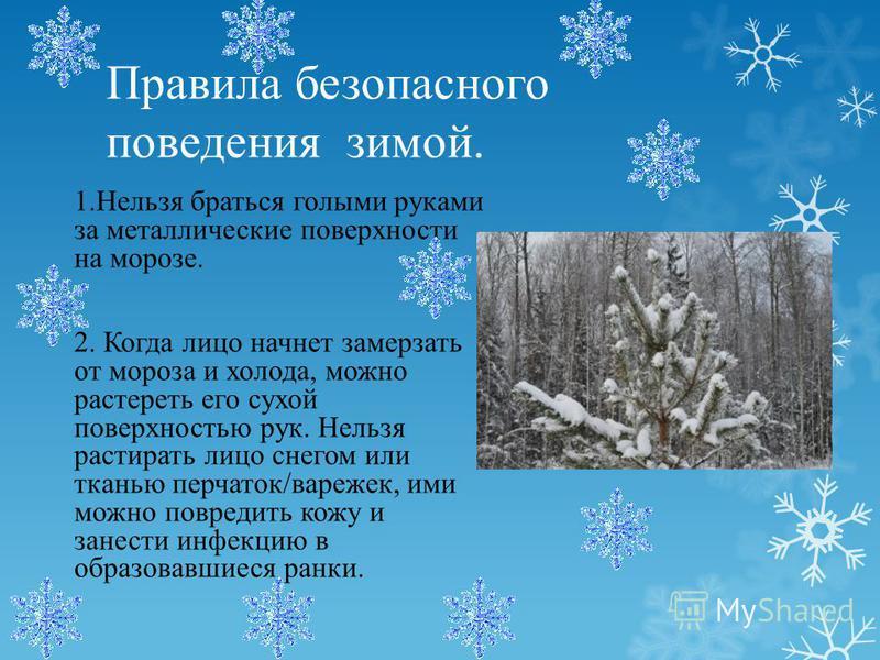 Правила безопасного поведения зимой. 1. Нельзя браться голыми руками за металлические поверхности на морозе. 2. Когда лицо начнет замерзать от мороза и холода, можно растереть его сухой поверхностью рук. Нельзя растирать лицо снегом или тканью перчат