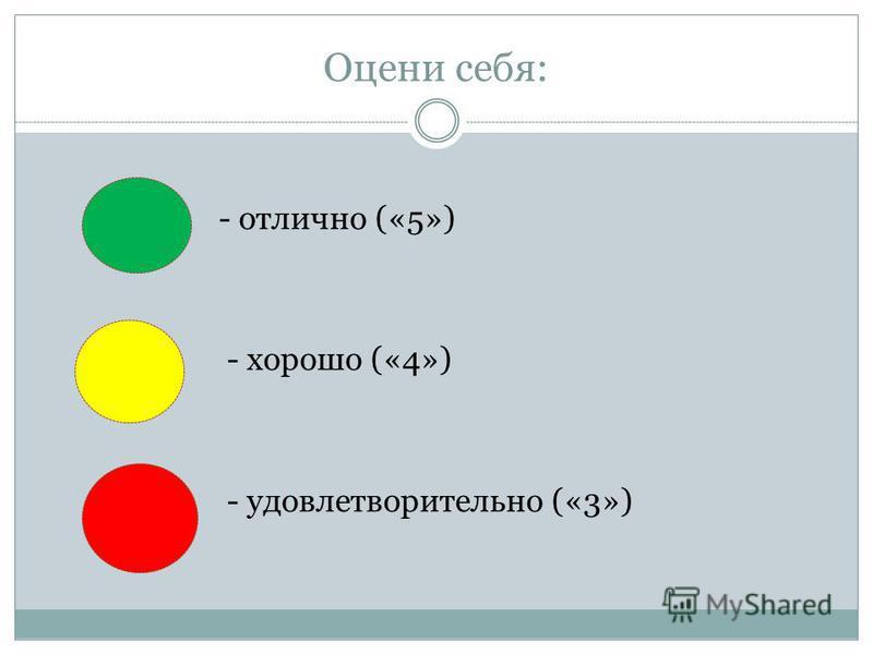 Оцени себя: - отлично («5») - хорошо («4») - удовлетворительно («3»)
