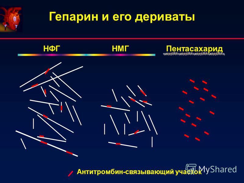 Гепарин и его дериваты Антитромбин-связывающий участок НМГНФГ Пентасахарид