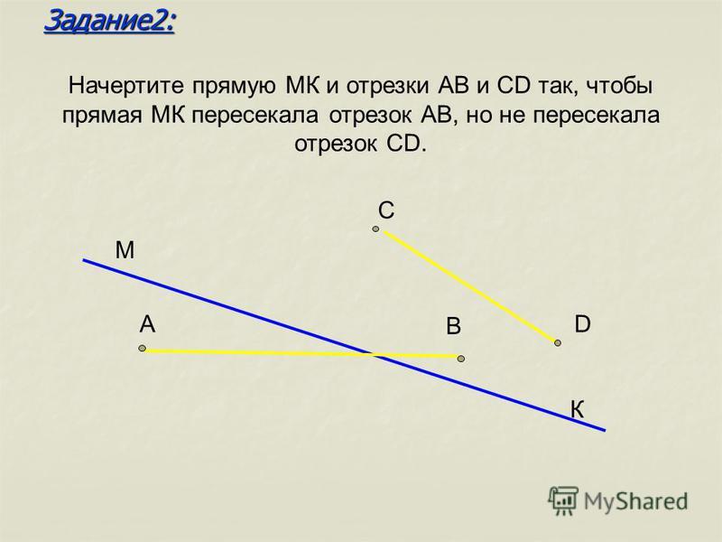 Начертите прямую МК и отрезки АВ и СD так, чтобы прямая МК пересекала отрезок АВ, но не пересекала отрезок СD. М К А В С D Задание 2: