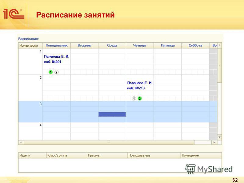 Расписание занятий 32
