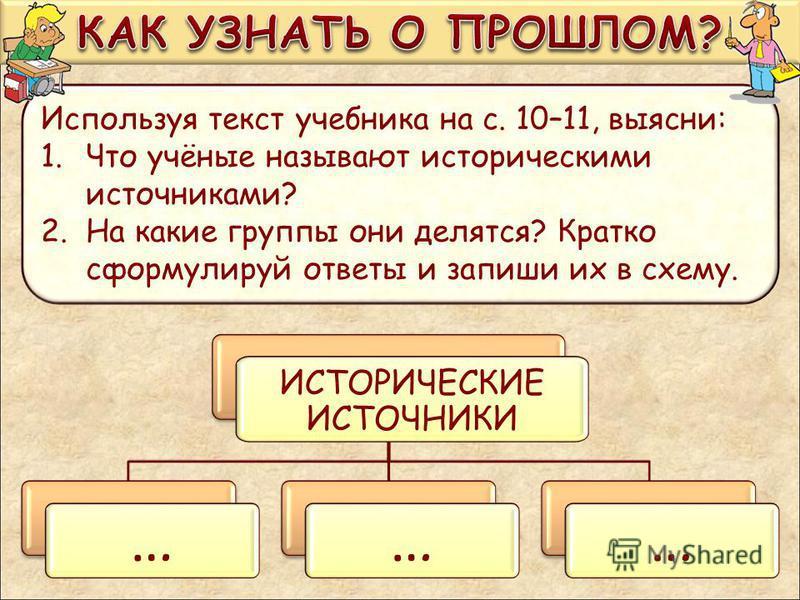Используя текст учебника на с. 10–11, выясни: 1. Что учёные называют историческими источниками? 2. На какие группы они делятся? Кратко сформулируй ответы и запиши их в схему. ИСТОРИЧЕСКИЕ ИСТОЧНИКИ … … … … … …