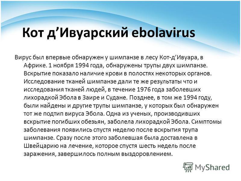 Кот д Ивуарский ebolavirus Вирус был впервые обнаружен у шимпанзе в лесу Кот-д Ивуара, в Африке. 1 ноября 1994 года, обнаружены трупы двух шимпанзе. Вскрытие показало наличие крови в полостях некоторых органов. Исследование тканей шимпанзе дали те же