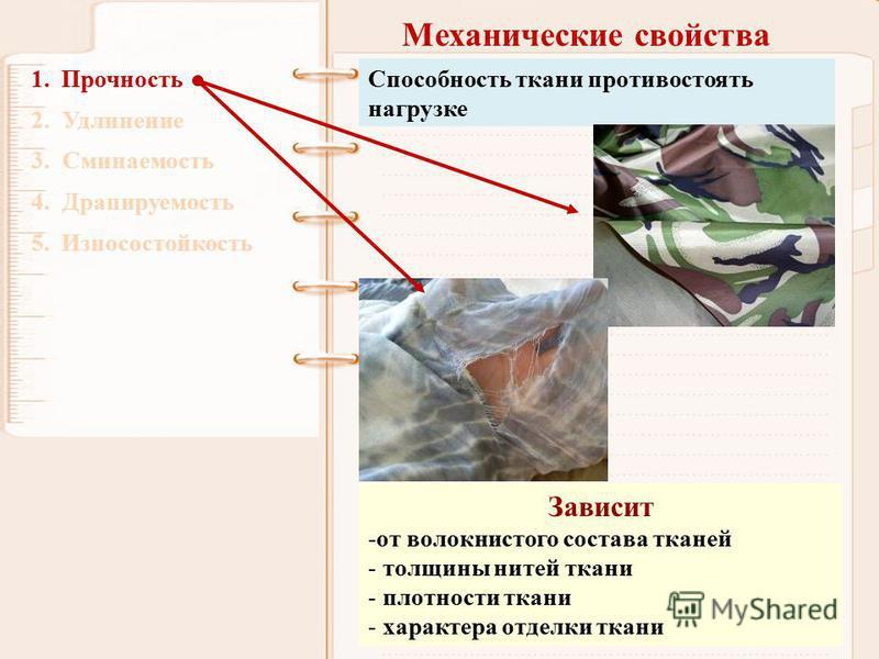 Механические свойства 1. Прочность 2. Удлинение 3. Сминаемость 4. Драпируемость 5. Износостойкость Способность ткани противостоять нагрузке Зависит -от волокнистого состава тканей - толщины нитей ткани - плотности ткани - характера отделки ткани