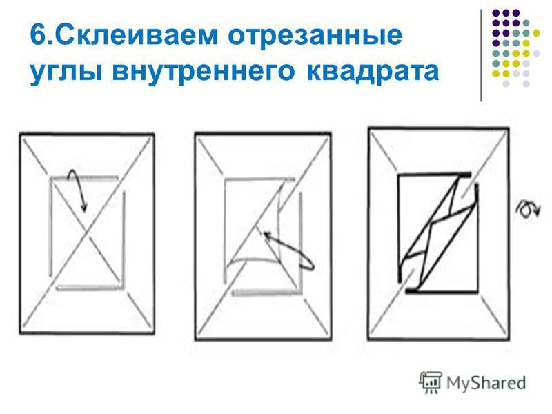 6. Склеиваем отрезанные углы внутреннего квадрата