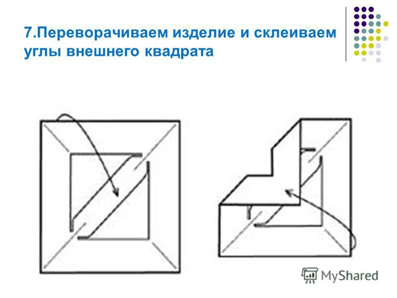 7. Переворачиваем изделие и склеиваем углы внешнего квадрата