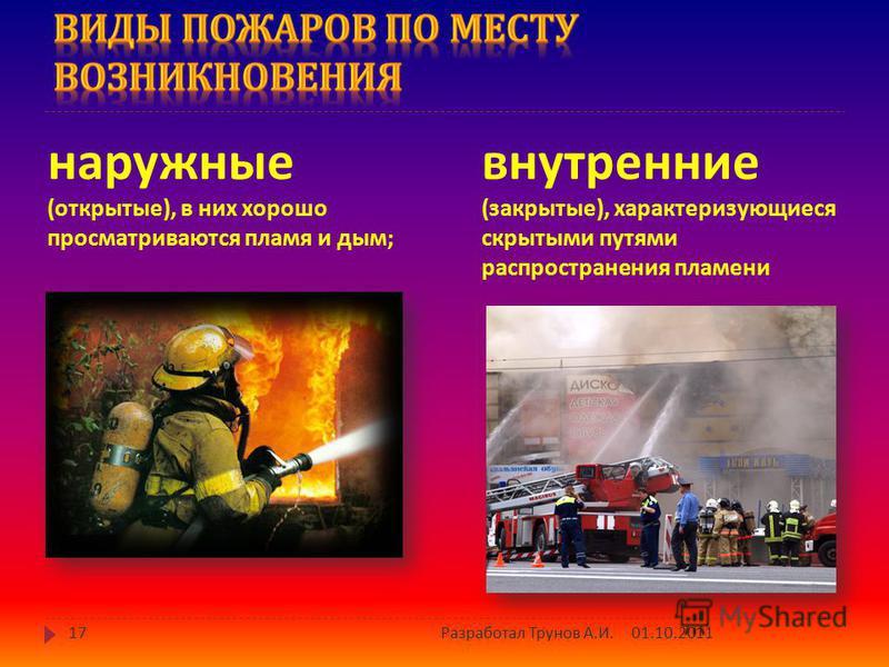 4) пожары в зданиях и сооружениях : 01.10.201116 Разработал Трунов А. И.