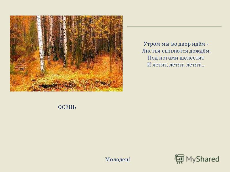 Утром мы во двор идём - Листья сыплются дождём, Под ногами шелестят И летят, летят, летят... ОСЕНЬ Молодец !