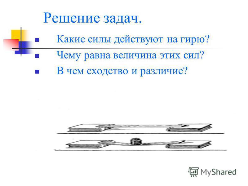 Решение задач. Какие силы действуют на гирю? Чему равна величина этих сил? В чем сходство и различие?