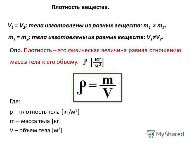 Плотность вещества. V 1 = V 2 ; тела изготовлены из разных веществ: m 1 m 2. m 1 = m 2 ; тела изготовлены из разных веществ: V 1V 2. Опр. Плотность – это физическая величина равная отношению массы тела к его объему. Где: ρ – плотность тела [кг/м³] m