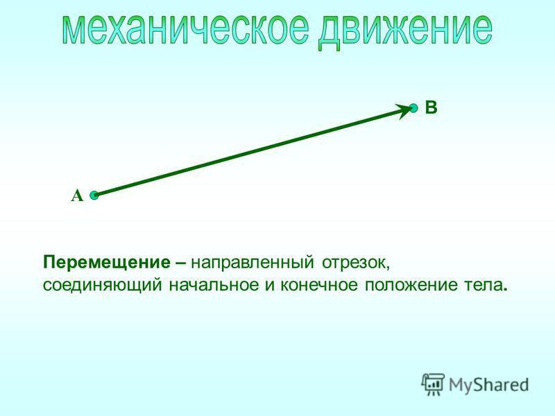 Перемещение – направленный отрезок, соединяющий начальное и конечное положение тела. А В