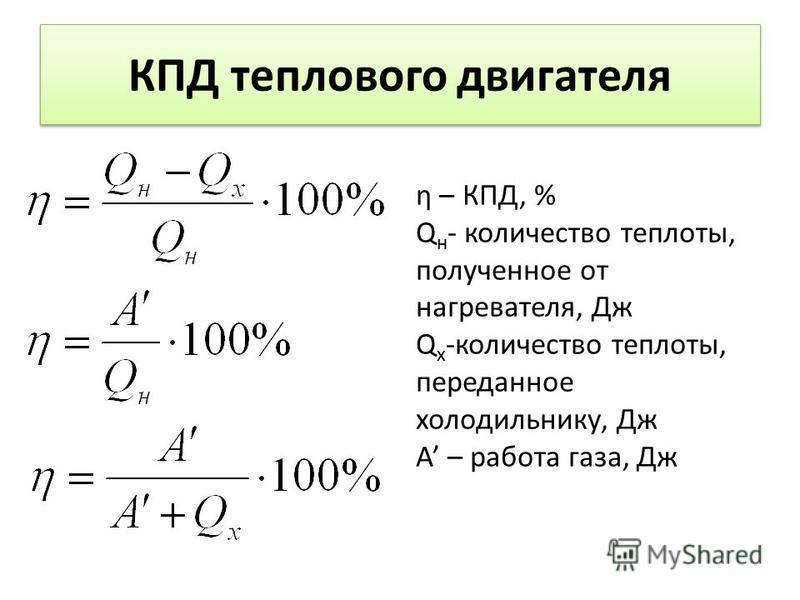 КПД теплового двигателя η – КПД, % Q н - количество теплоты, полученное от нагревателя, Дж Q х -количество теплоты, переданное холодильнику, Дж А – работа газа, Дж