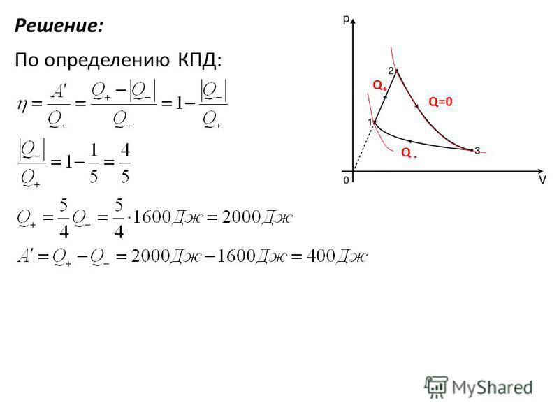 Решение: По определению КПД: Q + Q=0 Q -