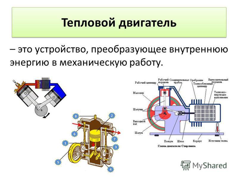 – это устройство, преобразующее внутреннюю энергию в механическую работу. Тепловой двигатель