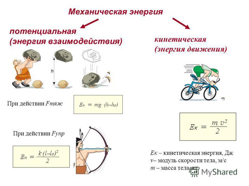 Механическая энергия потенциальная (энергия взаимодействия) При действии Fтяж При действии Fупр кинетическая (энергия движения) Eк – кинетическая энергия, Дж v– модуль скорости тела, м/с m – масса тела, кг