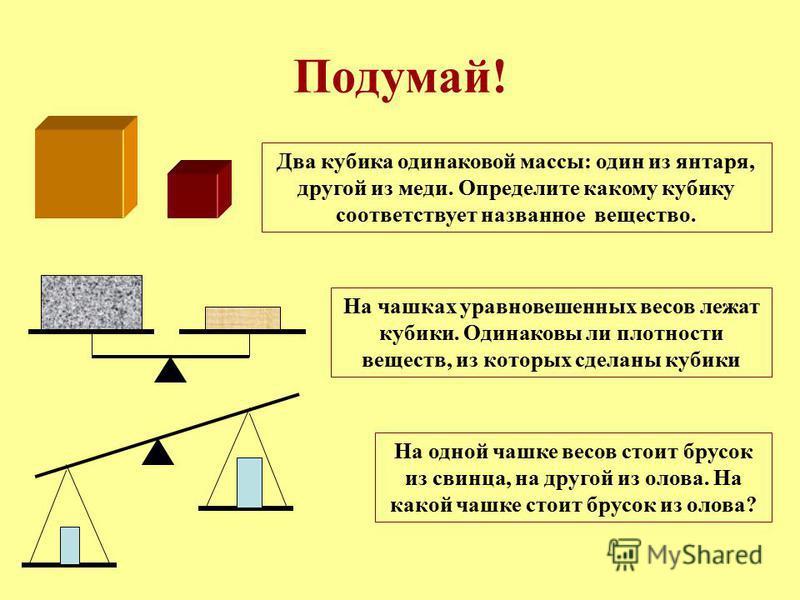 Подумай! Два кубика одинаковой массы: один из янтаря, другой из меди. Определите какому кубику соответствует названное вещество. На чашках уравновешенных весов лежат кубики. Одинаковы ли плотности веществ, из которых сделаны кубики На одной чашке вес
