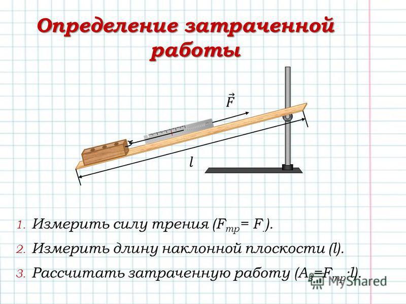 Определение затраченной работы 1. Измерить силу трения (F тр = F. ). 2. Измерить длину наклонной плоскости (l). 3. Рассчитать затраченную работу (A з =F тр ·l).