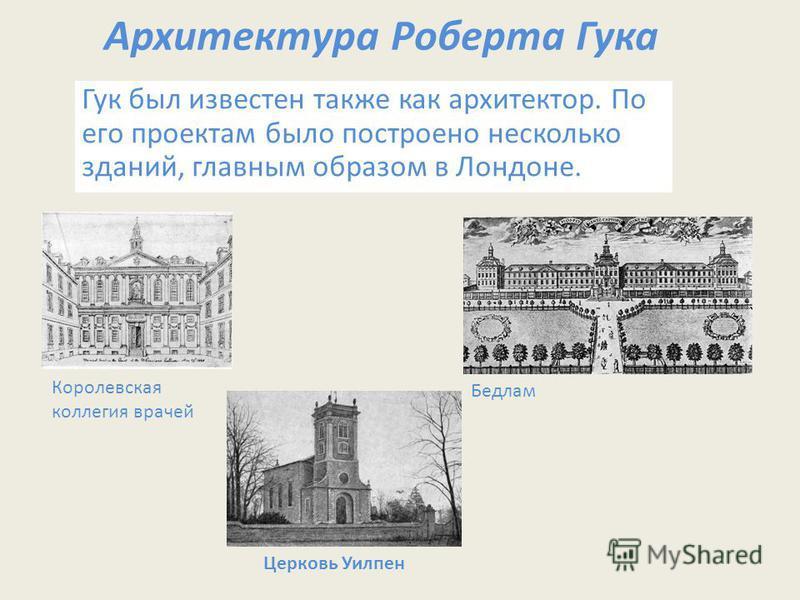 Архитектура Роберта Гука Гук был известен также как архитектор. По его проектам было построено несколько зданий, главным образом в Лондоне. Королевская коллегия врачей Бедлам Церковь Уилпен