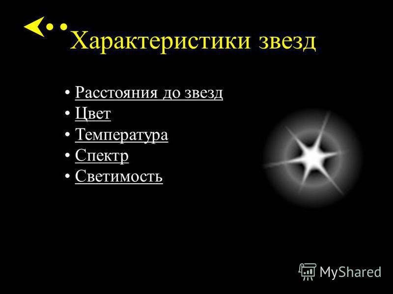 Характеристики звезд Расстояния до звезд Цвет Температура Спектр Светимость