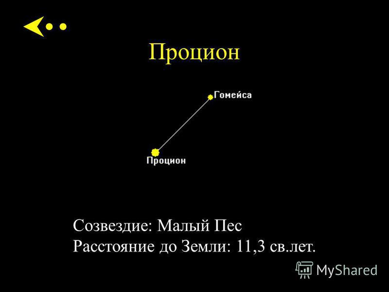Процион Созвездие: Малый Пес Расстояние до Земли: 11,3 св.лет.