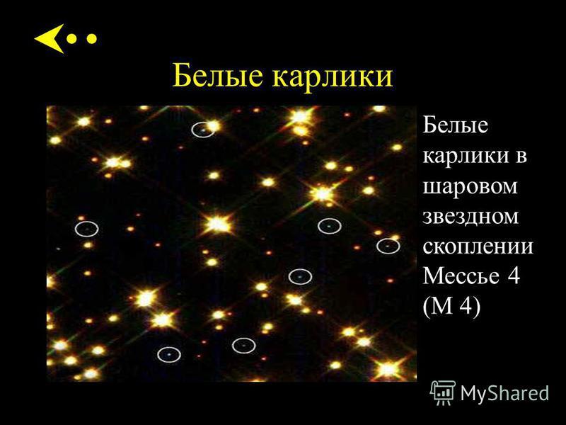 Белые карлики Белые карлики в шаровом звездном скоплении Мессье 4 (М 4)