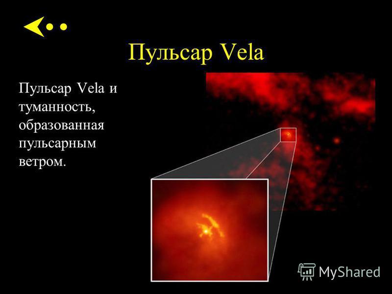 Пульсар Vela Пульсар Vela и туманность, образованная пульсарным ветром.