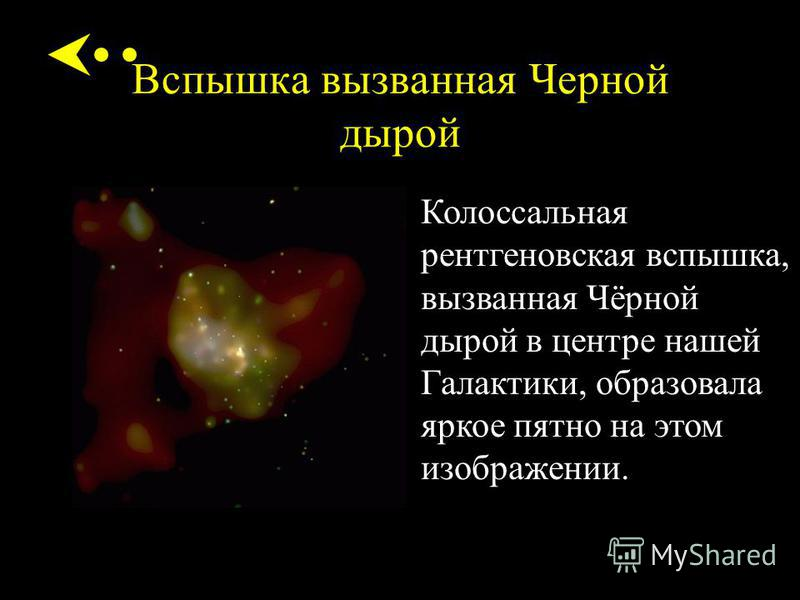 Вспышка вызванная Черной дырой Колоссальная рентгеновская вспышка, вызванная Чёрной дырой в центре нашей Галактики, образовала яркое пятно на этом изображении.