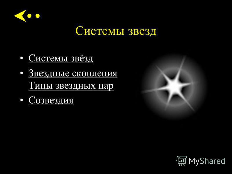 Системы звезд Системы звёзд Звездные скопления Типы звездных пар Звездные скопления Типы звездных пар Созвездия