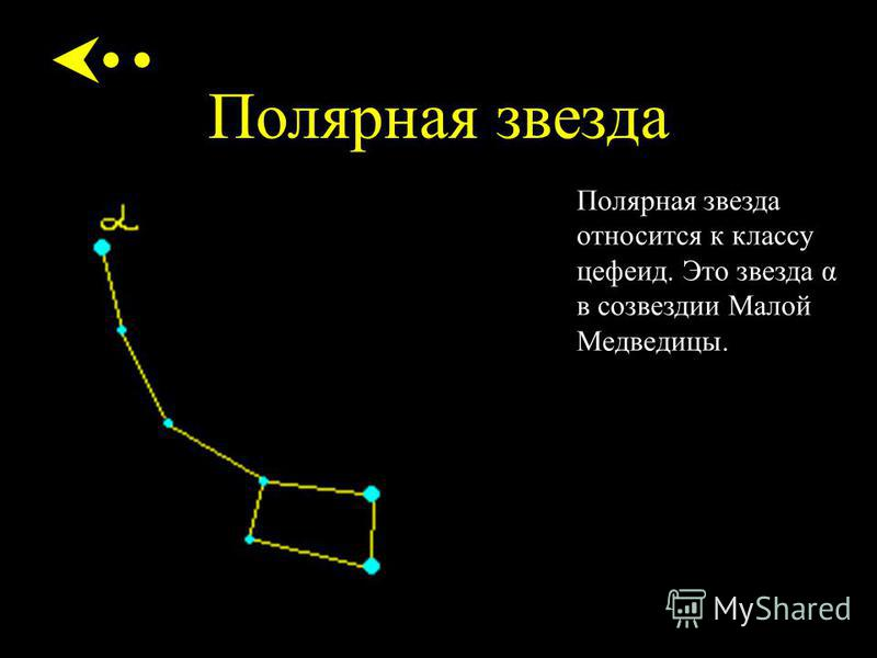 Полярная звезда Полярная звезда относится к классу цефеид. Это звезда α в созвездии Малой Медведицы.